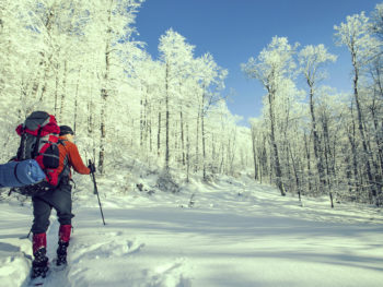 photo of winter backpacker hiking through a snowy path surrounded by trees